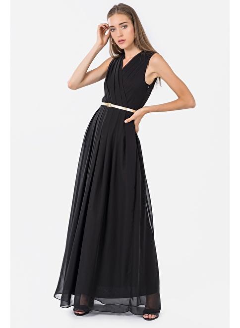 İroni Pileli Kruvaze Uzun Abiye Elbise Siyah